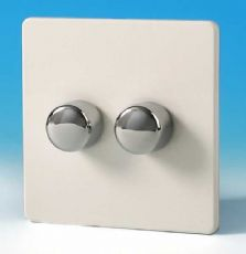Varilight V-Plus 2 Gang 2 Way 2x300W Push on/off IQ Dimmer Screwless Premium White IDQP302S